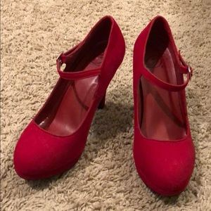 Shoes - Red 4in Mary Jane Heels